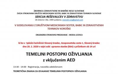 TEMELJNI POSTOPKI OŽIVLJANJA z vključenim AED