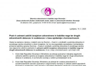 Poziv Zbornice - Zveze in sindikatov s področja zdravstva in socialnega varstva